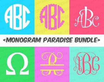 Monogram Letters SVG, Circle Monogram SVG, Vine Monogram SVG, Scalloped Monogram, Svg, Eps, Dxf, ...