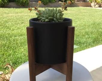 "Walnut Mid Century Planter with Stand 5"" diameter"
