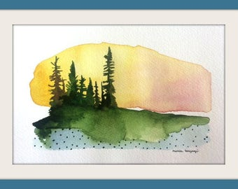 The sunset, original watercolor painting, 5''x7'', 2017, fine art collection, paysage art, nordic forest, minimalist artwork,