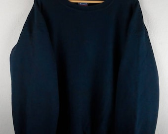 RARE!!! Champion Reverse Weave Small Logo Crew Neck Dark Blue Colour Sweatshirts Hip Hop Swag XXL Size