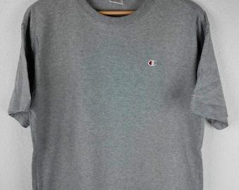 RARE!!! Champion Small Logo Embroidery Crew Neck Grey Colour T-Shirts L Size
