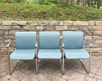 Aqua Green Herman Miller Bench by Peter Protzman.  Vintage Mid Century Modern airport waiting room office doctor customer bench