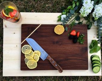 Walnut Cutting Board with Poplar Inlay