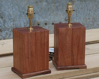 Pair Of Hardwood Bedside Or Table Lamps