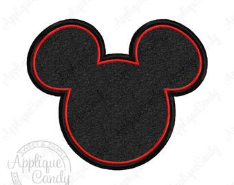 Mr Mouse Head Silhouette Applique 3 Machine Embroidery Design 4x4 5x7 6x10 INSTANT DOWNLOAD