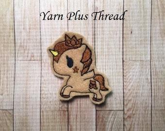 Brown Crown Unicorn Feltie Embroidery Design