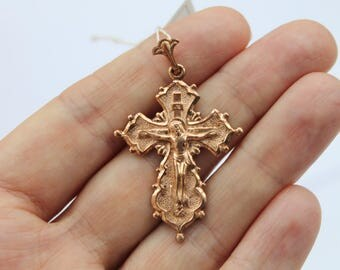 Vintage crucifix orthodox cross pendant sterling silver 925 - gold plated #163. Free Shipping