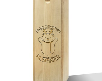 Personalised Beary Christmas Wooden Wine Box