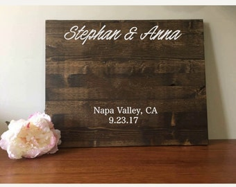 Wedding Guestbook//Alternative Guestbook//Wood Guestbook//Rustic Wedding//Names, City, State & Date//20x24