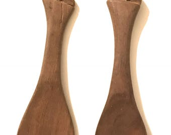 Hand Carved Wooden Cheetah Fork Spoon Set Vintage