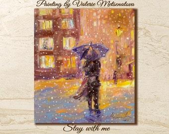 Love, Romantic painting, Lovers, Landscape, Umbrella, Best gift, Fine art, Home decor, Original painting