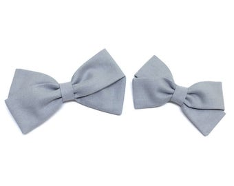 Fabric Hair Bows - Gray - Hair Bows - Headband or Clip