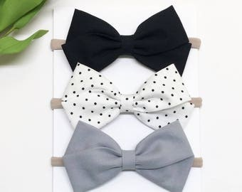 Bow Baby Headband - Black White Gray - Baby Headband - Clips or headbands