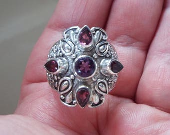 Artisan Crafted Natural Amethyst and Rhodolite Garnet Ring Size 9 Solid 925 Sterling Silver