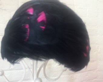 Black and pink feather hat