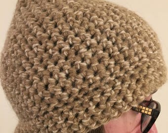 Crocheted Oatmeal Wool Hat