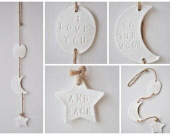 I love you to the moon and back wall hanging - moon and star decor, jute rope decoration, clay decor nursery, nursery moon star, to the moon