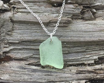 Authentic Found Pacific Northwestern Sea Glass Necklace - Seafoam Green