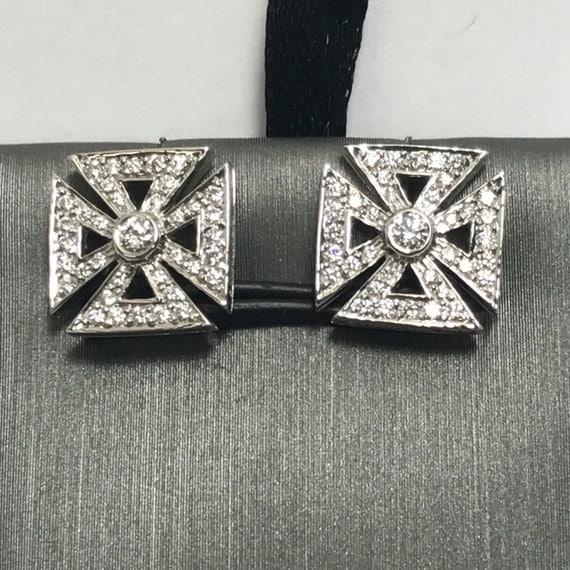 VINTAGE Tiffany & Co. Platinum Diamond Maltese Cross Stud Post  Earrings