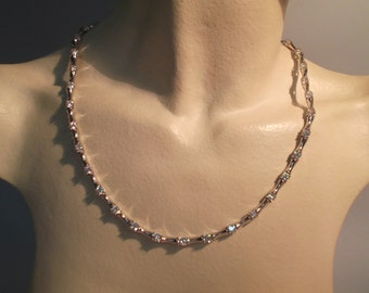 925 silver plated rhodium necklace with zirconia, with hidden clasp