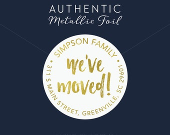 We've Moved Return Address Label, We've Moved Envelope Seal, We've Moved, Moving Announcement, Gold Foil Sticker, Gold Return Address