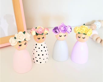 Flower Crown Peg Dolls, Peg Dolls, Nursery Décor, Scandi, Wooden Décor, Waldorf Dolls, Boho Décor, Wooden Toys