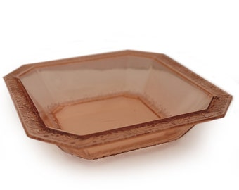 Square pink 1930's Depression glass bowl s