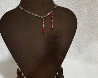 Vampire bite choker, necklace in antique silver tone with glass pearl and seed bead dangle bite marks, blood drops, Goth, OOAK, Twilight