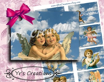 VINTAGE ANGELS - Gift Tags - Digital Collage Sheet - 8 Gift Tags - Instant Download