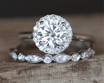 2pcs Moissanite Ring Set 6.5mm Round Cut Moissanite Engagement Ring Set&Art Deco Half Eternity Wedding Ring Set 14K White Gold Ring Set