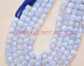 Natural Chalcedony Cubes, Faceted Cube Box Beads, 8 MM Size, 10 Inches Strand, Loose Gemstone Cubes Beads