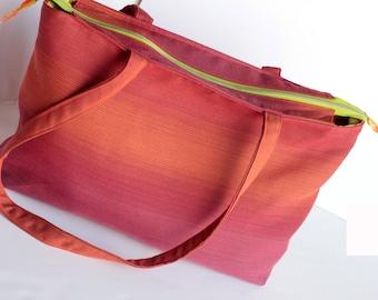 Large Upholstery Purse, Orange Carpet Purse, Upcycled Large Bag, Made in NC, Beach Bag, Rose Purse