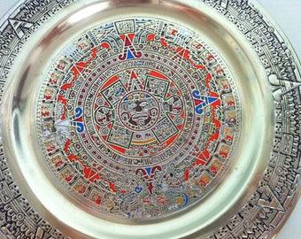 Brass Mayan Calender Plate/Mayan Calendar/Mayan Wall Art/Mayan Decor/Mexican Art/Mayan Art/Vintage Brass Mayan Calendar Plate/Aztec Art