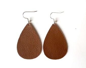 Brown Leather Earrings / Large Earrings / Long earring / Leather Earring / Brown Earrings / Leather Jewelry / Modern Jewelry