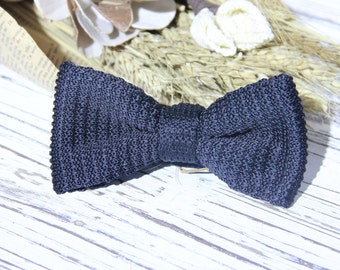 Black Knit Bow Tie for Men Knitted Bow Tie Gift for Him Groomsmen Bow Ties Husband Gift