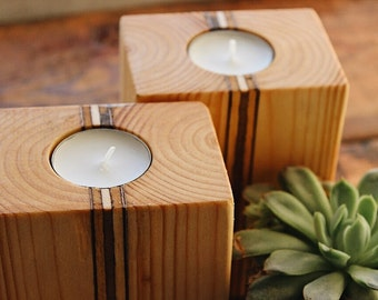 Pine Candle Holder - Individual or Set of 2