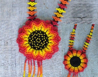 SALE Native Beaded Necklace Mexican Huichol tribal gypsy beaded orange flower necklace 2 sided hand made orange red yellow brown seed beads