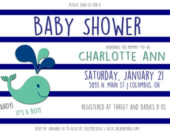 Whale Baby Shower Printable Invitation - Digital File