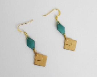 Earrings Graphic Art deco green new art brass gold