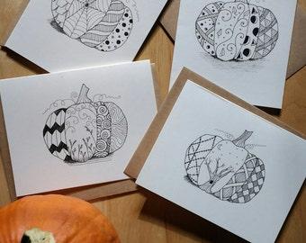 Zentangle Pumpkin Cards, Zentangle Note Card Set, Zentangle Greeting Cards, Halloween Cards, Blank Note Cards, Greeting Cards