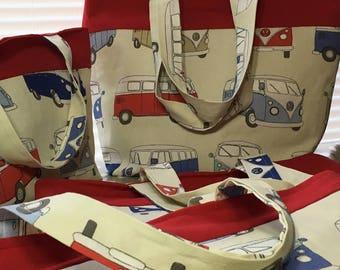 VW campervan tote bag, camper vw fabric bag, VW camper gifts, vw camper fabric market bag, campervan vw shopper bag, vw campervan small tote