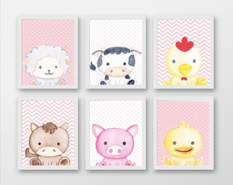 Set 6 Farm Animal Prints - Pink/Blue/Yellow - Changeable Characters & Backgrounds