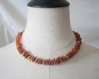Vintage orange beaded necklace | Orange amber stone simulated necklace