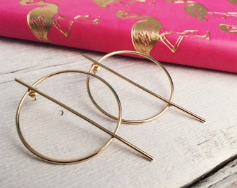 Bold Hoop Earrings in Gold Big Hoop Earrings with Bar Design nickel free