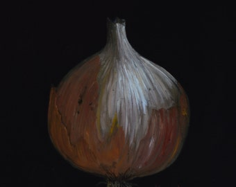 YELLOW ONION   paintings of onions  kitchen decor  vegetables  still life paintings  art for kitchens