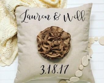 Custom throw pillow- Wedding date pillow, anniversary gift, wedding gift