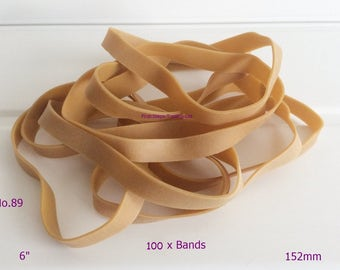 "100 x Large Natural 6"" x 1/2"" Wide Rubber Elastic Bands No.89 152.4mm x 12.7mm"
