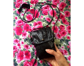 Small Black Leather Crossbody Bag / Festival Bag Phone Purse