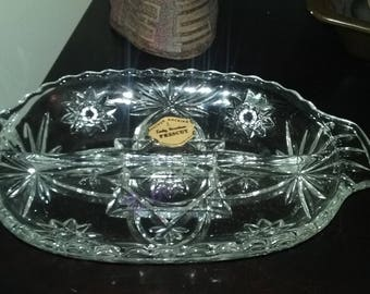 """Vintage Anchor Hocking 'Star of David' Clear Glass Divided Relish Dish 10"""""""