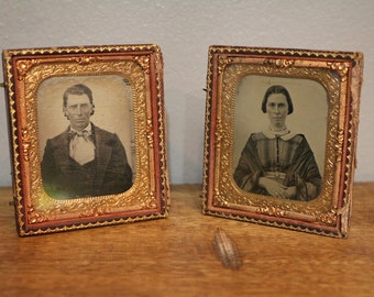 Antique 1/6th Ambrotype of Husband and Wife in case